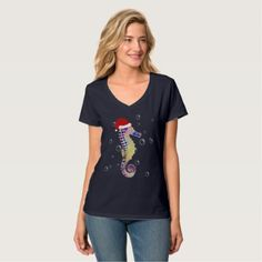 #Seahorse with Santa Hat Christmas T-Shirt - diy cyo customize personalize design
