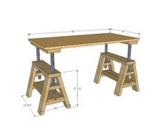 Modern Indsutrial Adjustable Sawhorse Desk to Coffee Table Easy Wood Projects, Easy Woodworking Projects, Popular Woodworking, Woodworking Furniture, Furniture Projects, Furniture Plans, Woodworking Plans, Diy Furniture, Intarsia Woodworking