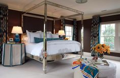 SAVAGE Interior Design: A magnificent mirrored four-poster bed in the master bedroom.