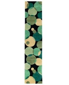 "Momeni Area Rug, Perspective Circles Nw-37 Teal 2' 6"" x 12' Runner Rug"