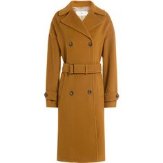 Closed Virgin Wool Coat (33.680 RUB) ❤ liked on Polyvore featuring outerwear, coats, camel, camel double breasted coat, slim coat, brown coat, cinch coats and camel coat