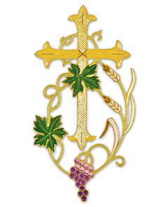 Gold Metallic Cross and Grape Applique 805 Bead Embroidery Jewelry, Beaded Embroidery, Embroidery Patterns, Crochet Lamp, Diy Angels, Bible Bookmark, Altar Cloth, Christian Symbols, Church Banners