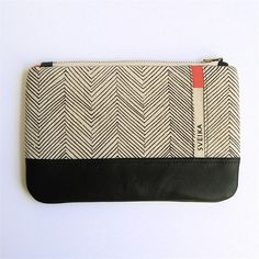 Linen and Leather Clutch - Hand-printed - Chocolate Herringbone