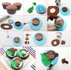 Diy Projects: DIY Monkey Cupcakes These are so adorable! Monkey Cupcakes, Animal Cupcakes, Fondant Monkey, Safari Cakes, Jungle Cake, Monkey Birthday, Birthday Cake, Fondant Animals, Fondant Cupcake Toppers