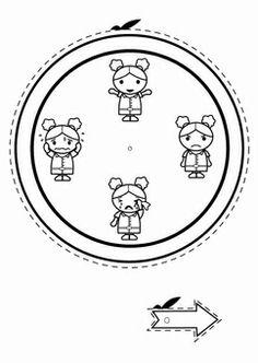 Kleurplaat emotie klok - meisje