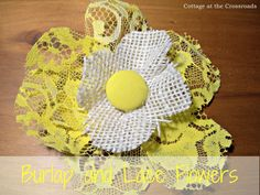 tutorial on making burlap and lace flowers
