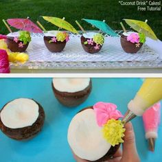 You will love these coconut drinks mini cakes--they are perfect for luau and beach themes! Luau Theme Party, Hawaiian Luau Party, Moana Birthday Party, Hawaiian Birthday, Tiki Party, Hawaiian Cupcakes, Moana Party, Luau Cakes, Beach Cakes