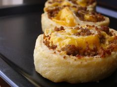 SAUSAGE & CHEESE BREAKFAST PINWHEELS ~ Great side dish with some eggs or as a stand alone, grab-and-go breakfast. The web site has one way of making them, here is another ~ super easy... a crescent roll sheet spread evenly with cream cheese, sausage and cheddar cheese, roll up and bake 15 minutes or until golden brown. -DEEEELICIOUS