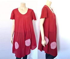 LILI CHIFFONS French Vintage Maxi Red Cotton Gauze by bOmode, $59.00