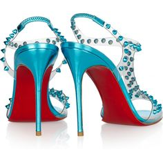 Christian Louboutin J-Lissimo 100 spiked metallic leather sandals ($735) ❤ liked on Polyvore