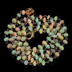 """29CRTS 3.5to4MM 24"""" ETHIOPIAN OPAL RONDELLE BEADS CHAIN NECKLACE OBI1473 #OPALBEADSINDIA"""