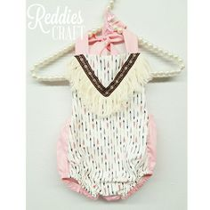 reddies craft baby romper. handmade. arrows and finge baby fashion