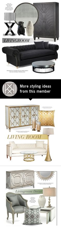"""LivingRoom In Black"" by kathykuohome on Polyvore featuring interior, interiors, interior design, hogar, home decor, interior decorating, Crate and Barrel, Home, homedecor y homedesign"