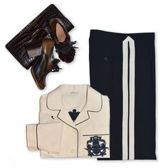 DRIES VAN NOTEN TOUCH:Pajama-Style shirt* Blue trousers with white stripe🔸Leather derby pumps 🔸Embossed leather pochette.