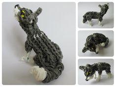 Rainbow Loom wolf cub - husky - EVEREST puppy Part Loombicious Rainbow Loom Tutorials, Rainbow Loom Patterns, Rainbow Loom Creations, Rainbow Loom Bands, Rainbow Loom Charms, Rainbow Loom Bracelets, Rubber Band Crafts, Rubber Bands, Rainbow Loom Animals