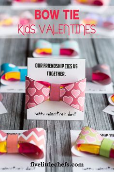 Bow ties classroom valentine ideas for kids are cute, cheap and easy. Use the printables then add a two pack starburst candy. A great valentine's day idea for friends. fivelittlechefs.com