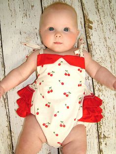 Sewing pattern for baby with instant download.  The Isabella Romper is a beautiful vintage styled baby romper with easy shoulder ties and 3 cute ruffles at the back. It is easy to make with no buttonholes or zippers. The Isabella romper is designed to have lots of room to accommodate either disposable or fabric diapers. With an elasticized back and legs it is easy and comfortable to wear and is perfect for the hot summer months. You will get compliments everywhere your baby goes in this…