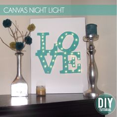 Canvas night light-would be cute if you used the idea but with a Christmas theme.