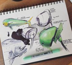 An original approach to industial design / ear buds inspired by Mahi mahi fish / credit . Sketch Design, Design Art, Designs To Draw, Cool Designs, Mise En Page Portfolio, Hidrocor, Presentation Techniques, Industrial Design Sketch, Sketch Markers