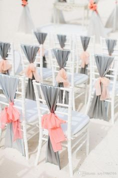 DIY silver chair satin sash wedding chair decor ideas