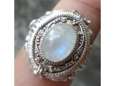 $5.00 ends today so do not miss this auction just $5 ~ Poison ring Sterling Silver 925 STERLING SILVER  RAINBOW MOONSTONE SZ 8-