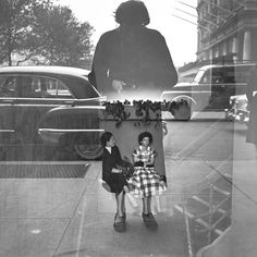 Vivian Maier photograph of two seated women in her shadow