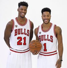 Jimmy Butler and D-Rose, Bulls Media Day 2015. #SeeRed