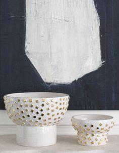 KELLY WEARSTLER | CONFETTI COLLECTION // pretty white and gold ceramics