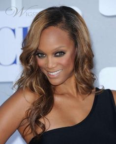 New Arrival Attractive Beautiful Tyra Banks Hairstyle Long Wavy Brown Full Lace Wig 100% Human Hair about 18 Inches : wigsbuy.com
