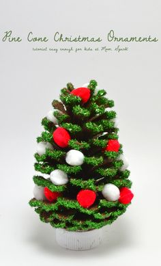 DIY Pine Cone Christmas Tree by momspark: You can make simple and completely sweet ornaments out of pine cones! #DIY #Christmas #Pine_Cone_Crafts