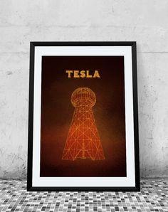 Tesla Tower Science Poster Printable Poster  by PrintableRandoms