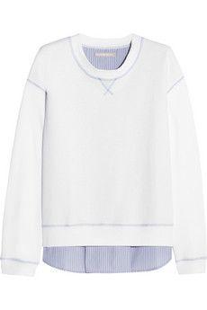 Richard Nicoll Paneled cotton-jersey sweatshirt | NET-A-PORTER.  Back of the sweatshirt is cotton poplin with a yoke and a pleat.