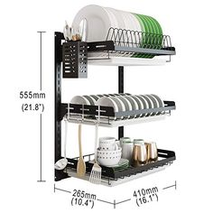 Hanging Dish Drying Rack Wall Mount Dish Tier Junyuan Kitchen Plate Bowl Spice Organizer Storage Shelf Holder with Drain Tray With 3 hooks,Stainless steel black coating tier, Diy Storage Shelves, Diy Kitchen Storage, Home Decor Kitchen, Kitchen Interior, Kitchen Dining, Modern Kitchen Cabinets, Kitchen Cabinet Design, Plate Shelves, Shelf Holders