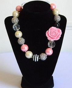 Girls Boutique Necklace Costume Chunky Jewelry Pink Black Silver Birthday Girl