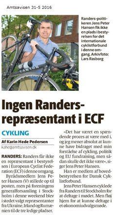 Øv - trods en valgkamp lignende indsats lykkedes det ikke at blive valgt til bestyrelsen for European Cyclist Federation. Måske afstod nogen fra at stemme på en, der var tosset nok til at cykle til Stockholm? (selv om jeg holdt relativ lav profil med mit cykleri).
