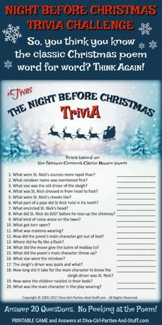 This Night Before Christmas trivia game will seriously challenge your memory of the lines of the popular poem we hear repeated year after year. Christmas Trivia Questions, Fun Christmas Party Games, Christmas Quiz, Xmas Games, Christmas Poems, Holiday Games, Christmas Night, The Night Before Christmas, Christmas Activities