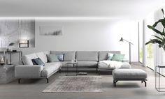 Design hoeksalon – Finance is important Living Room Grey, Home Living Room, Living Room Designs, Living Spaces, Piece A Vivre, Corner Sofa, Decor Styles, Decoration, Family Room