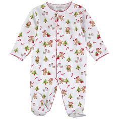 Kissy Kissy - Christmas teddy-printed Pima cotton sleepsuit - 94141