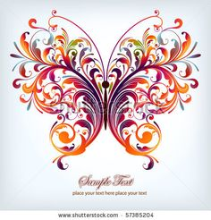 stock vector : abstract floral butterfly