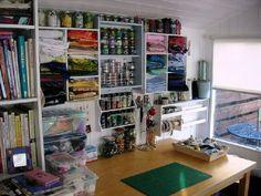 Shelves of fabric & buttons ~By Yvonne Moxon, Boxoftrix, Craft Room Storage, Craft Organization, Craft Rooms, Organizing Ideas, Pine Shelves, Basket Drawers, Plastic Bins, Drawer Unit, News Studio