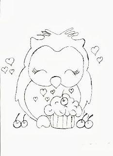 desenho de corujinha com cupcake para pintar