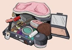 This weeks entry for Illustration Friday . Going through my make-up bag I was a bit shocked at the amount of stuff I have to mask the fact. Makeup Illustration, Fashion Illustration Sketches, Fashion Sketches, Beauty Illustrations, Make Up Art, Web Design, Cute Wallpapers, Aesthetic Anime, Girly Things
