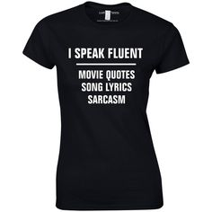 I Speak Fluent Song Lyrics Movie Quotes Womens Top ($19) ❤ liked on Polyvore featuring tops, t-shirts, checkered top, check pattern shirt, checked shirt, checkered shirt and checkered pattern shirt