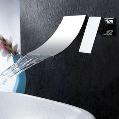 LightInTheBox Contemporary Single Handle Wall Mount Widespread Waterfall Bathroom Vanity Sink Lavatory Faucet, Chrome - Amazon.com