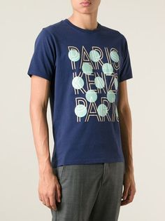 Kenzo Blue cotton Paris and dots T-shirt featuring a round neck and short sleeves.   #genteroma