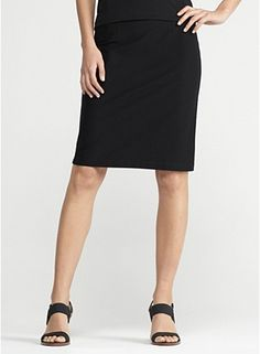 Knee-Length Pencil Skirt in Washable Stretch Crepe