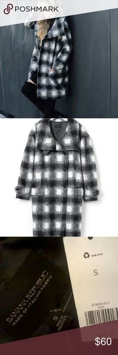 NWT Banana Republic check coat Very soft and cute check coat with Grey detail in back neck. 35%wool, 34%polyester 31%acrylic shell. 100% polyester lining. A must have. Banana Republic Jackets & Coats