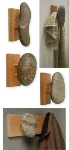 Sea-Stones - Natural Stone Wall Hook for Towel, Coat, and Spa.a little more rustic if you use pallet wood Woodworking Jigs, Woodworking Projects, Woodworking Workshop, Woodworking Techniques, Popular Woodworking, Natural Stone Wall, Natural Stones, Pebble Art, Wall Hooks