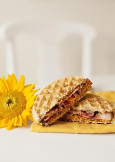 """Using two Eggo Waffles as the """"bread,"""" this Sweet Potato Sunrise Sandwich is a delicious way to start your day! Recipe courtesy of Jessica James. Potato Sandwich, Waffle Sandwich, Sandwich Recipes, Breakfast Lunch Dinner, Breakfast Recipes, Breakfast Ideas, Eggo Waffles, Pancakes, Jessica James"""