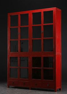Genial Large Glass Cabinet, Red Varnished Antiqued Wood From Lauritz